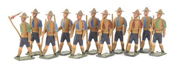 Heyde No 3 [43-48mm] size solids made prior to 1945 by Geog Heyde of Dresden, Germany - Boy Scouts, comprising: Scout Master with St George Pennon, 1 x Empty Handed Walking Scout & 9 x Scouts walking with Staves