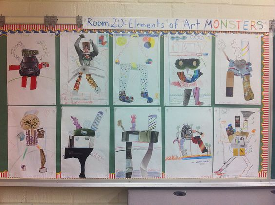 Elements of Art Monsters, collaged magazines and colored pencils. Students start with an elements of art chart, and incorporate all elements in their monsters.