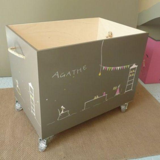 coffre jouets personnalis en bois sur roulettes pas mal les poign es en corde kids pinterest. Black Bedroom Furniture Sets. Home Design Ideas