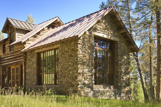 Addition to log house in stone for Stone and log homes
