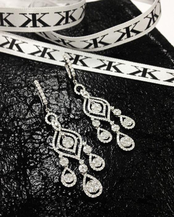 Diamond Chandelier Earrings by Kalfin Jewellery #diamonds ...