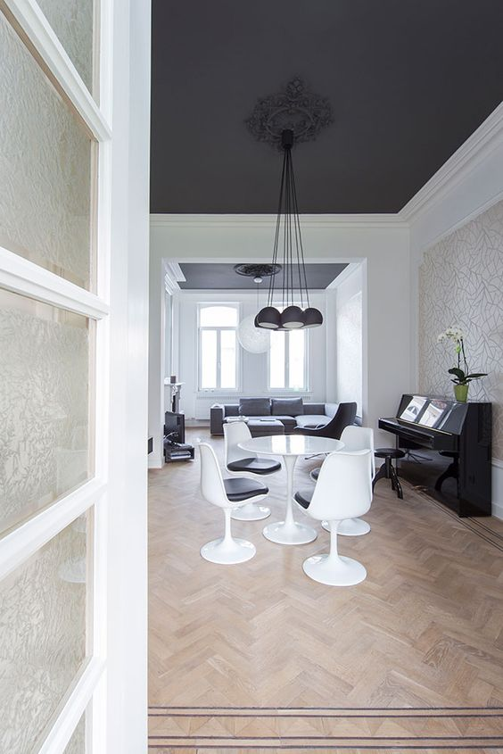 Townhouse home renovation and dark ceiling on pinterest for White walls black ceiling