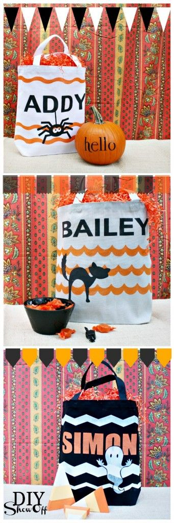 Personalized hand made Halloween trick or treat bags decorated with a spider, a ghost or a black cat!