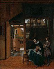 A Woman Preparing Bread and Butter for a Boy, Pieter de Hooch, about 1660–63