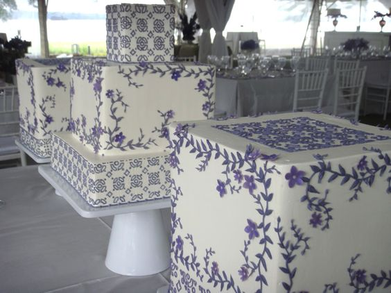 WOW ~~ a trio of lavender wedding cakes by Jim Smeal