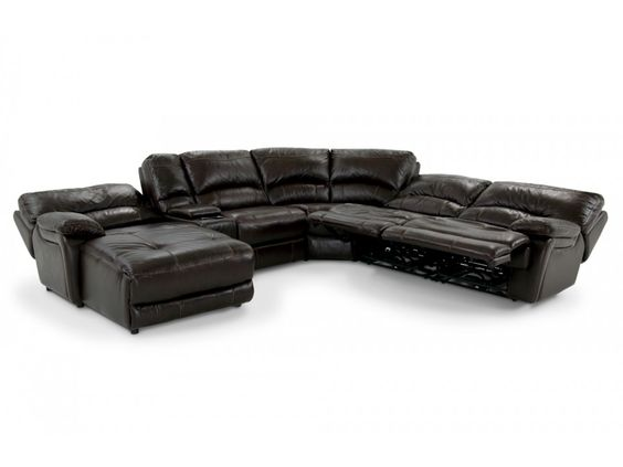 Atlas leather 6 piece right arm facing sectional bobs for Bob s leather sectional sofa