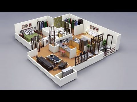 50 Best Two Bedroom 3d Single Story House Plan With Interior Design Modern House Plans Apartment Floor Plans House Plans