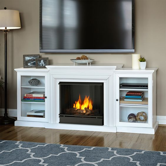 Real flame frederick tv stand w/ ventless gel fireplace in white ...