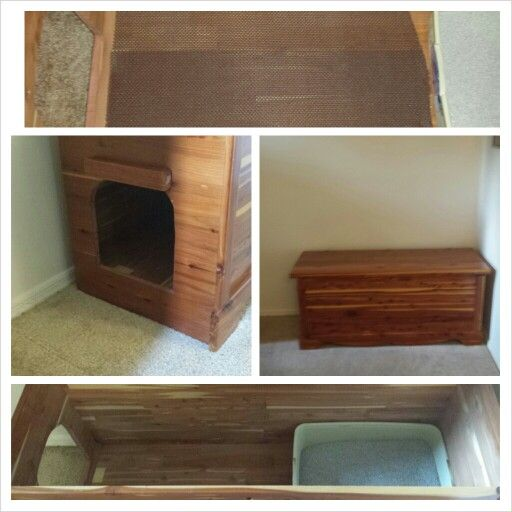 Cedar chest turned litter box. Used a jigsaw to cut out the whole and layed cabinet liner do they don't track out the litter.