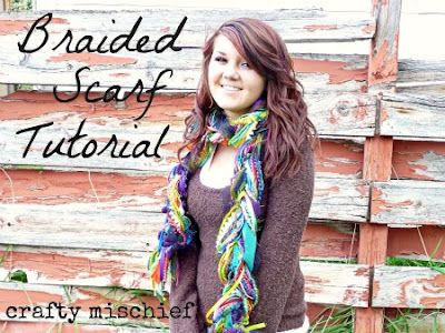 The Braided Scarf    So, first you'll want to decide what kinds of craft supplies to use in your scarf.    I used a variety of yarn, fun fur, ribbon, fabric scraps, tulle, crochet thread, jersey knit, lace, ric rac, chinese braid and single crochet chains of yarn in different colors and textures.