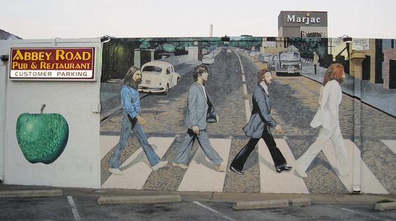 Beatles abbey road mural virginia beach virginia 1982 for Abbey road mural