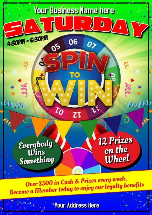 Gaming Spin The Wheel Spin The Wheel Gaming Posters Poster Template