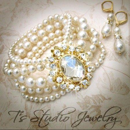 GRACE Pearl Bridal Bracelet In Gold - from T's Studio Jewelry