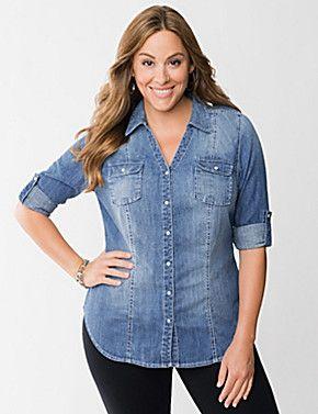 Denim Shirt Plus Size | Curves! | Pinterest | Shirts, Denim shirts ...