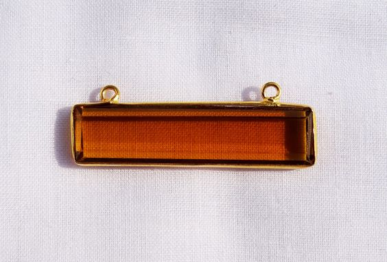 Bear Quartz Station Rectangle Connector Hydro Glass Shape 34X8 mm 24k Gold Plated Double Bail Gemstone 1pc with FREE SHIPPING WORLD Wide by Sunrisegemstone on Etsy