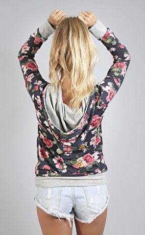 this floral hoodie is everything comfy and cute. wear it as a shirt with your cut offs or skinnies