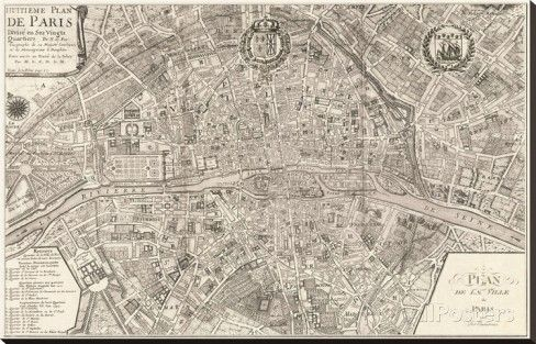 Plan de la Ville de Paris, 1715 Stretched Canvas Print by Nicolas De Fer at AllPosters.com