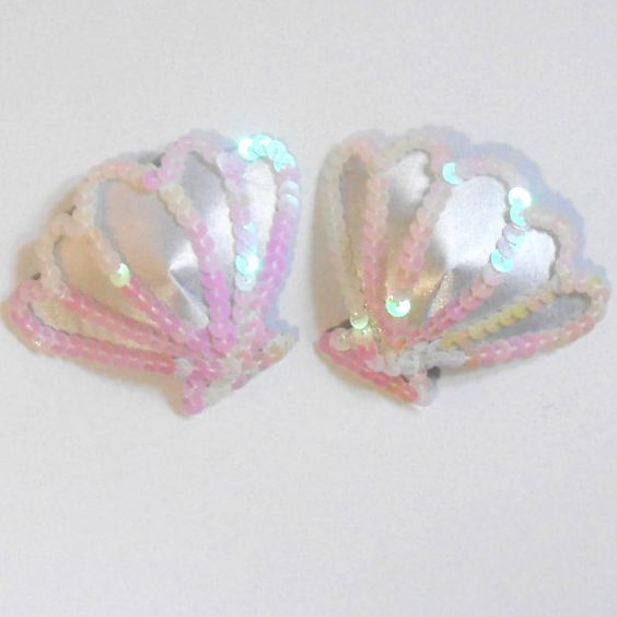 MERMAID White Cockle Shell Nipple Pasties Covers Burlesque