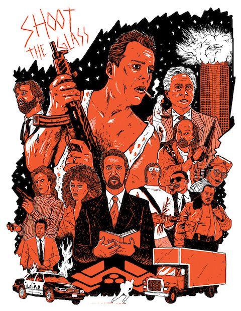 Ilustradores top reinterpretan carteles de 50 películas de los últimos 50 años DIE HARD