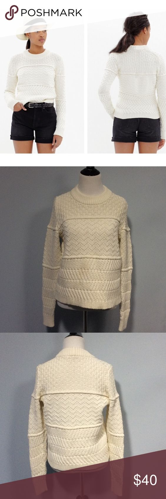 "🐞 Madewell Station Pullover Knit Sweater Small Super soft and chunky knit sweater made of a special yarn blend that makes it super light weight. The color is off-white/ivory. The bust measures 19"" across and the length from the shoulder is 22"". EUC Madewell Sweaters Crew & Scoop Necks"
