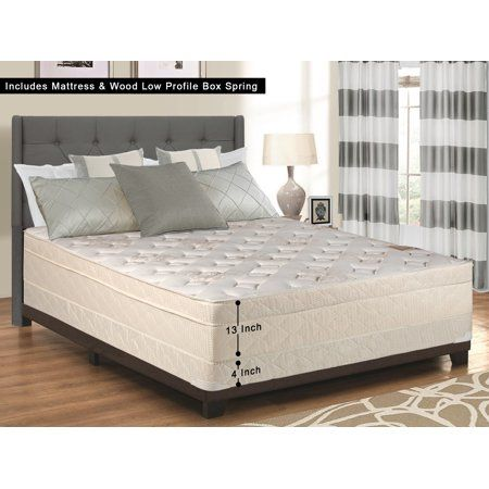 Wayton 13 Inch Fully Assembled Firm Euro Top Innerspring Single Sided Mattress And 4 Inch Wood Box Spri Spring Foundation Innerspring Mattresses Firm Mattress