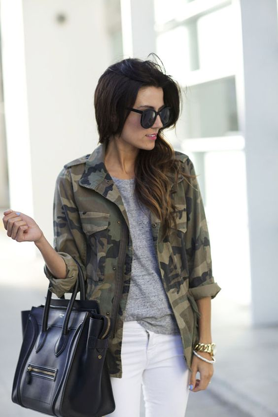 army style jacket camouflage grey tee shirt white jeans black handbag street style