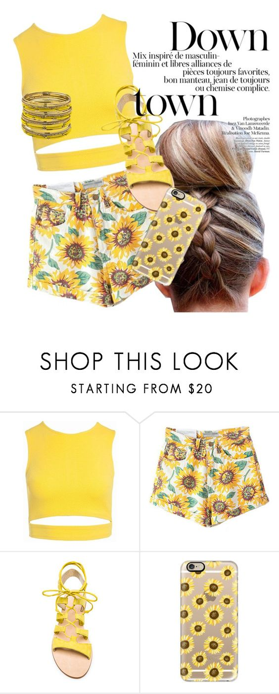 """Yellow Fashion: Flower Power"" by jcvillasis ❤ liked on Polyvore featuring Sans Souci, Cornetti, Casetify and ABS by Allen Schwartz"