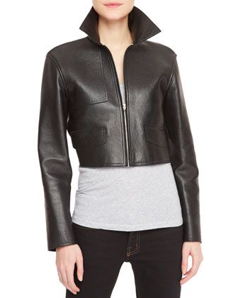 Leather-Front Knit-Back Cropped Moto Jacket, Black/Gray by Alexander Wang at Neiman Marcus.