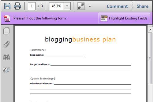 Free Blogging Business Plan Printable