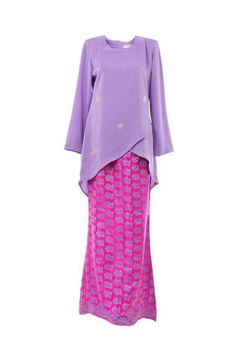 Women's Kurung Moden Dokoh Patch Light Purple from MOTHER & CHILD in Purple Modern design Kurung with Dokoh Patch nice cutting suitable for muslimah.Material used with 100% polyester with Traditional Songket / Flower Motif Skirt. ... #bajukurung #bajukurungmoden