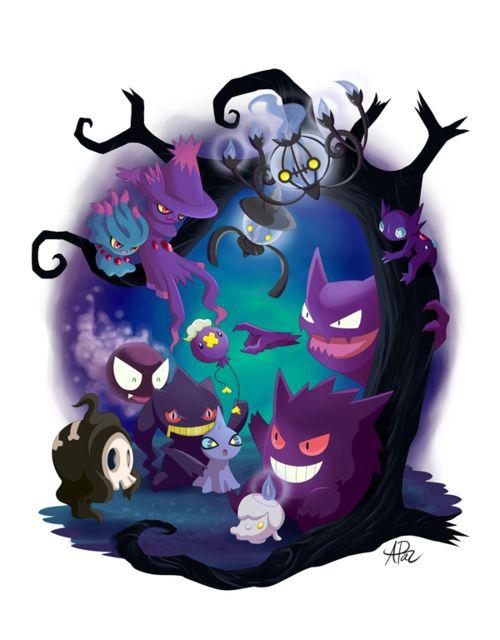 Ghost Pokemon. Misdreavus, Mismagius, Lampent, Chandelure, Sableye, Gastly, Drifloon, Haunter, Duskull, Banette, Shuppet, Litwick, and Gengar.