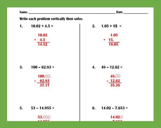 Adding And Subtracting Decimals Worksheet Decimals Worksheets