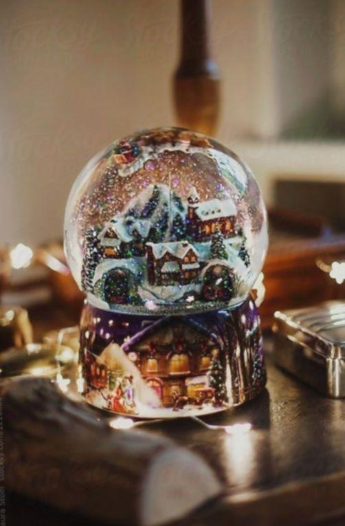 2020 Christmas Village Snow Globes 20+ Christmas Lights Aesthetic White in 2020   Christmas snow