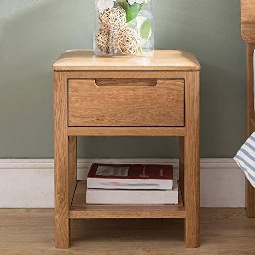 Fgsjej Solid Wood Bedside Table Oak Single Bedside Table Light