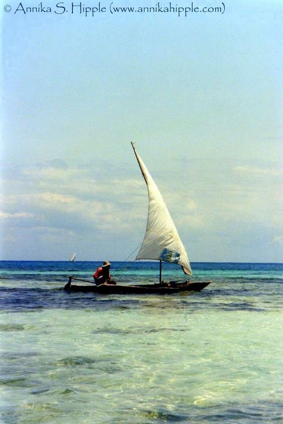 From my print archives: Dhow on the Indian Ocean, Zanzibar #Africa #boats #Tanzania #Zanzibar