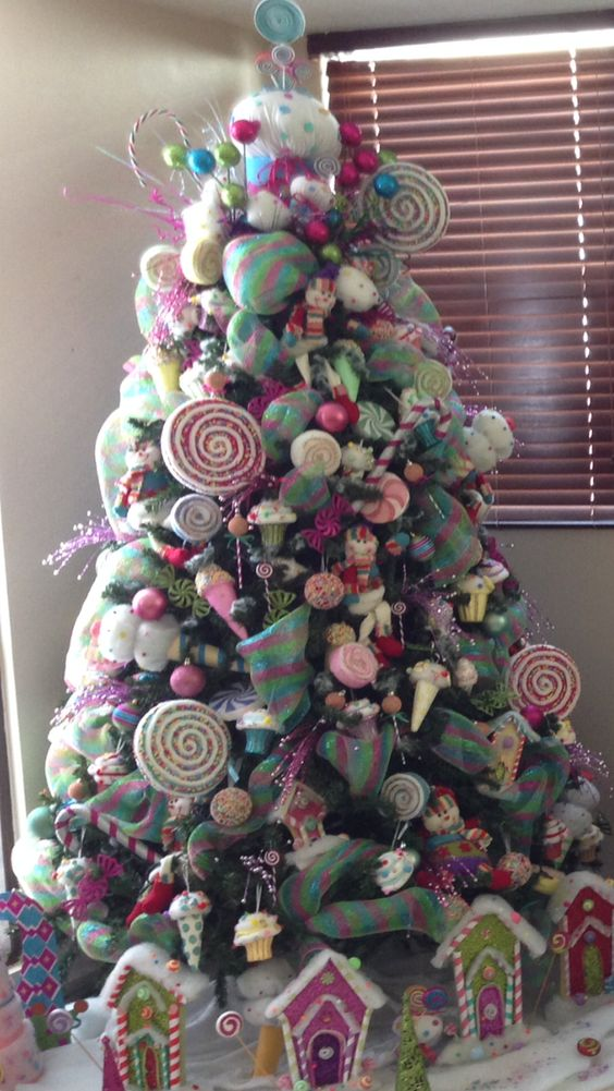Ideas para crear un arbol de navidad tematico de dulces - Arbol de navidad tela ...