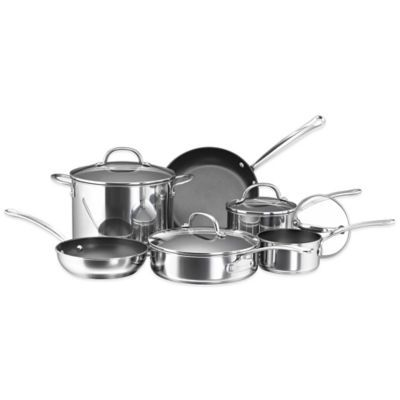 Farberware® Millennium Nonstick Coated Stainless Steel 10-Piece Cookware Set - BedBathandBeyond.com