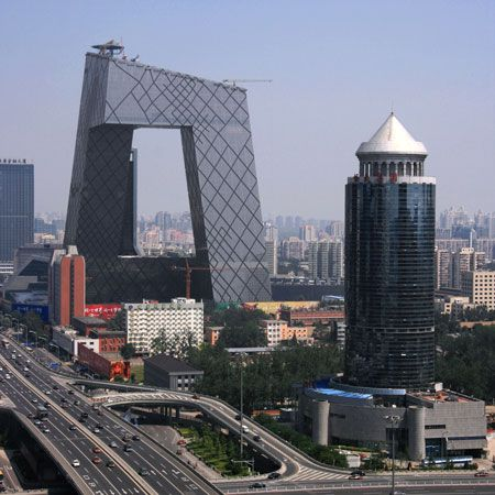 The CCTV building / Beijing skyline / Designed by architecture firm OMA with Rem Koolhaas and Ole Scheeren