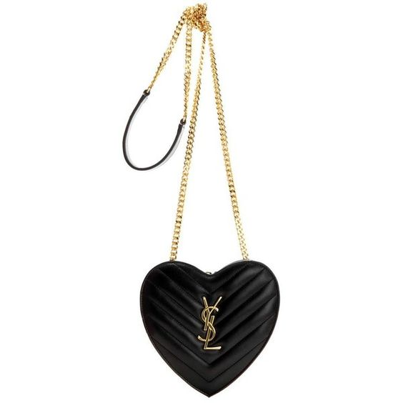 Saint Laurent Small Love Heart Chain Quilted Leather Shoulder Bag ($1,110) ❤ liked on Polyvore featuring bags, handbags, shoulder bags, black, shoulder handbags, heart shaped handbag, chain shoulder bag, yves saint laurent purses and chain handbags
