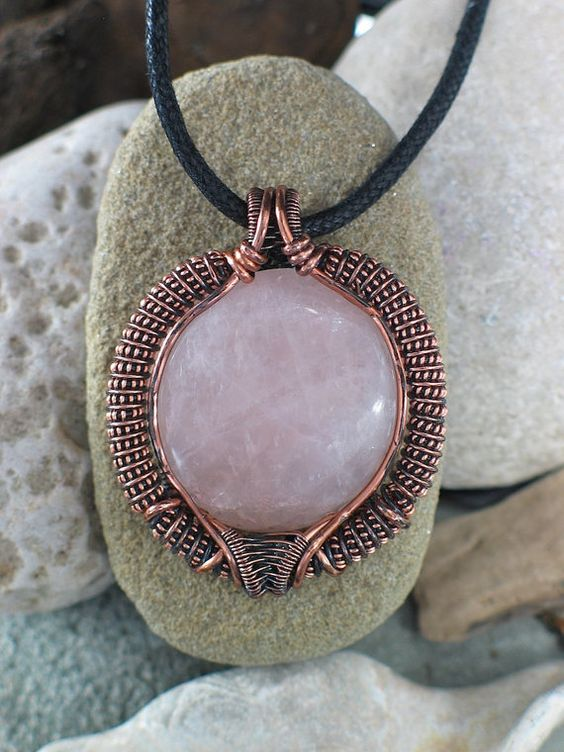 Rose Quartz Wire Wrap Pendant in Copper Gypsy by PeacebirdStudio, $80.00