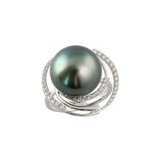 Pearl Ring With Natural Black South Sea 14.0-13.0 Mm Pearl I Mikura