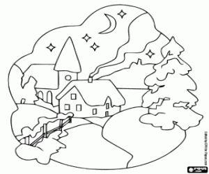 desenho de Uma vila nevada durante a noite de Natal para colorir