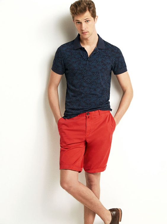 red shorts printed shirts