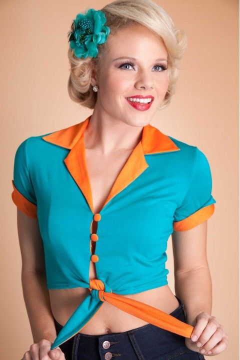 Tops : Comfy Blouse Turquoise with Orange