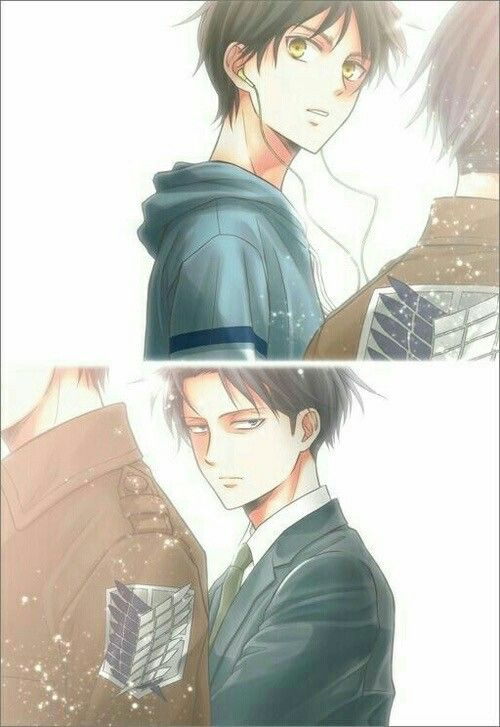 Eren, Levi, yaoi, EreRi, RiRen, earphones, listening, music, suit, outfit, school; Attack on Titan: