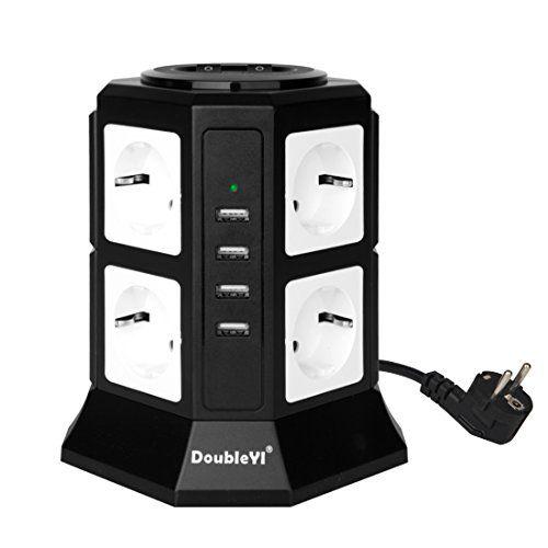 Protection jusqu/à 1000 joules DoubleYI Tour Multiprise Parasurtenseur Parafoudre 8 Prises avec 4 USB 4,5A Ports Noir Cordon de 2m