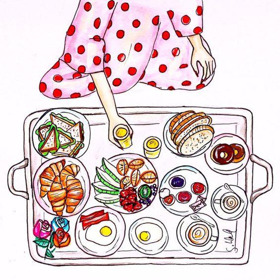 Cute Breakfast Illustration, Fashion Art, Chic Wall Art, Unique Fashion Illustration Print, Art Print, Wall Art Decoration, Food Art Deco