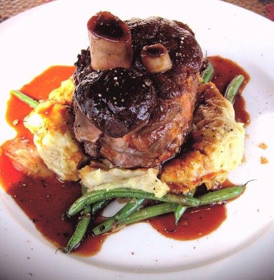 "Madeira Braised Lamb Shank ""Volcano"" with Horseradish Mashed Potato..."