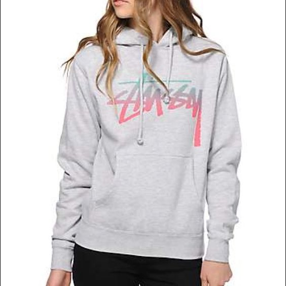 Womens Stussy Hoodie Light gray, x-small, super cute hoodie! I love this one but I bought it a size too small. Only worn once. Great condition. Cozy. Stussy Tops Sweatshirts & Hoodies