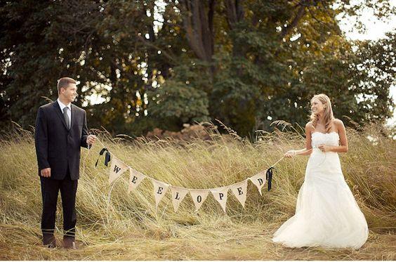 We eloped banner | wedding details | Pinterest | Elopements, Banners ...